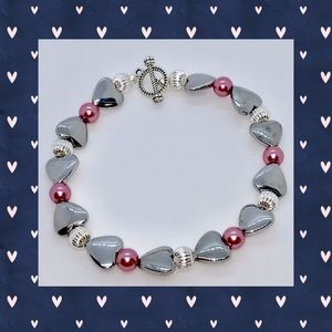 Hematite Heart and Pink Pearl Bracelet